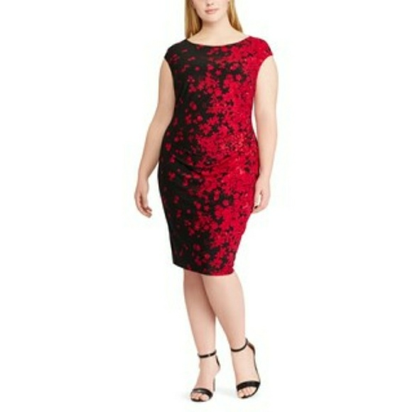 Chaps plus size wine colored floral dress, size 16 NWT